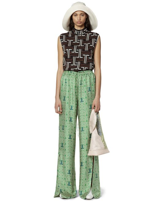 SILK FLOWY TROUSERS - Lanvin