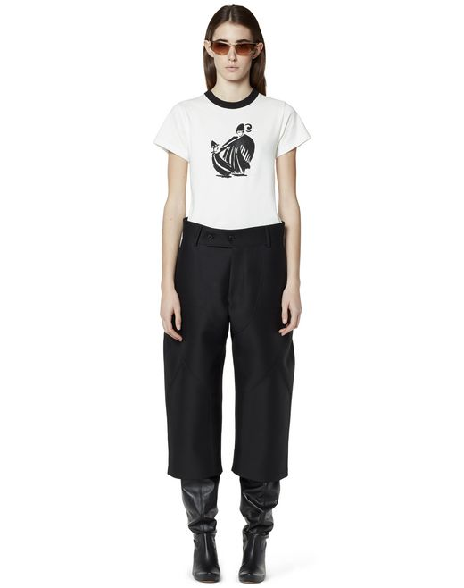 CROPPED TROUSERS IN WOOL AND SILK - Lanvin