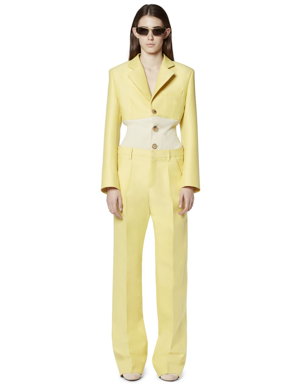 COTTON AND SILK TUXEDO PANTS - Lanvin