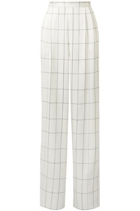 THE ROW Checked silk-twill wide-leg pants