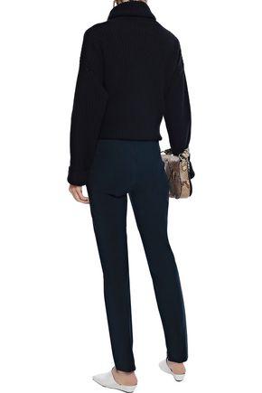 THEORY Pleated stretch-cotton slim-leg pants