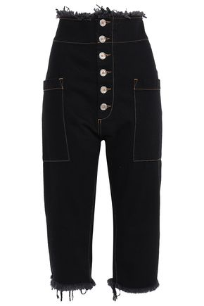 MARQUES' ALMEIDA Cropped button-detailed high-rise straight-leg jeans