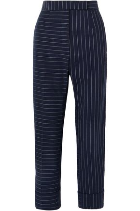 THOM BROWNE Cropped pinstriped cotton straight-leg pants