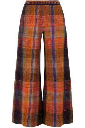 MISSONI Checked crochet-knit wide-leg pants