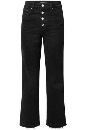 AMIRI Frayed Lurex-trimmed high-rise straight-leg jeans