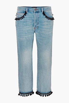 MARC JACOBS Pompom-embellished slim boyfriend jeans