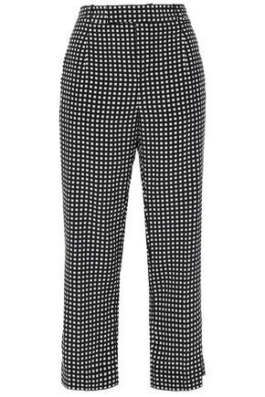 EQUIPMENT Bergen cropped checked silk straight-leg pants