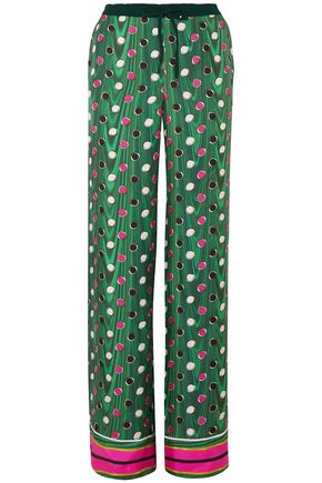MARY KATRANTZOU Macaw polka-dot silk-twill wide-leg pants