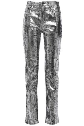 McQ Alexander McQueen Metallic high-rise slim-leg jeans