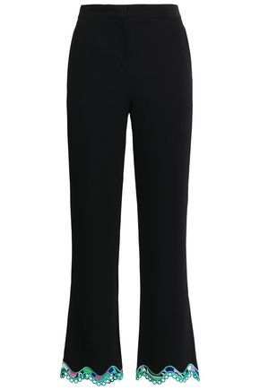 EMILIO PUCCI Lace-trimmed stretch-crepe kick-flare pants