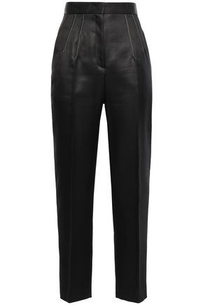 EMILIO PUCCI Cropped wool and silk-blend satin straight-leg pants