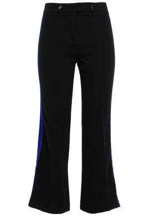 EMILIO PUCCI Velvet-trimmed striped stretch wool-crepe kick-flare pants