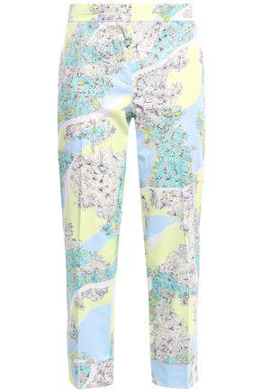 EMILIO PUCCI Cropped floral-print cotton-poplin slim-leg pants