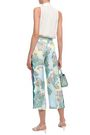 EMILIO PUCCI Cropped lace-trimmed floral-print silk-twill wide-leg pants