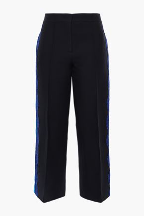 EMILIO PUCCI Cropped lace-trimmed wool and silk-blend straight-leg pants