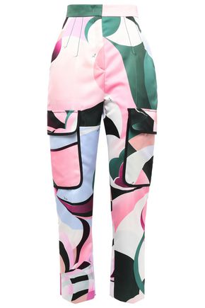 EMILIO PUCCI Cropped printed sateen tapered pants