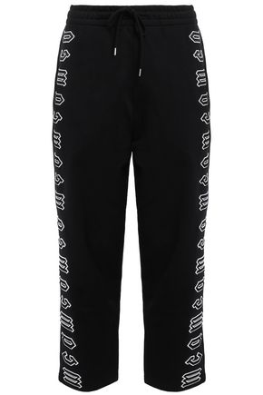 McQ Alexander McQueen Cropped appliquéd French cotton-terry track pants