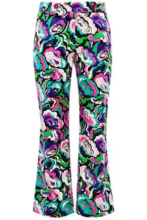 EMILIO PUCCI Printed cotton-blend velvet kick-flare pants