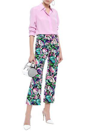 EMILIO PUCCI Printed cotton-blend velvet kick-flare pants