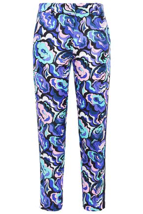 EMILIO PUCCI Cropped printed twill tapered pants