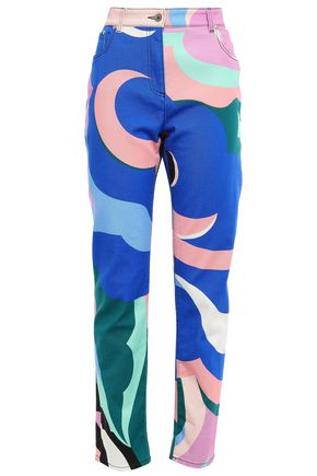 EMILIO PUCCI Printed high-rise straight-leg jeans