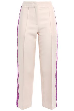EMILIO PUCCI Lace-trimmed wool and silk-blend culottes