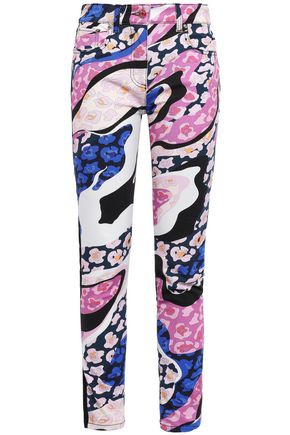 EMILIO PUCCI Cropped paneled printed skinny jeans