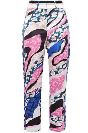 EMILIO PUCCI Cropped printed satin straight-leg pants