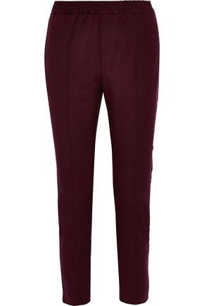 CHARLI Cecile cropped velvet-trimmed stretch-twill slim-leg pants