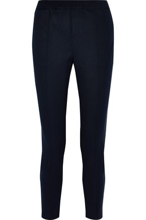 CHARLI Cecile cropped velvet-trimmed stretch-twill slim-leg pants