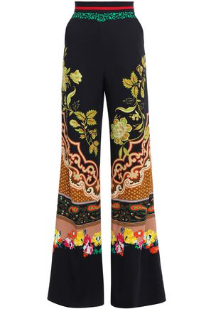 ETRO Floral-print crepe wide-leg pants