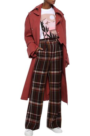 Acne Studios Checked Wool And Silk-blend Flared Pants In Multicolor