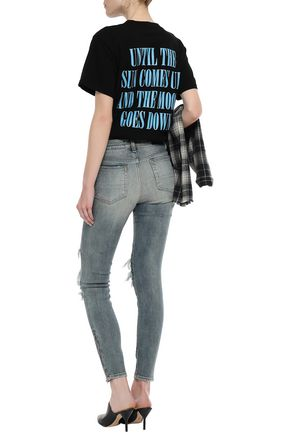 AMIRI Leather-trimmed distressed mid-rise skinny jeans
