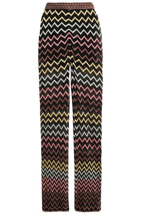 M MISSONI Metallic pointelle-knit wide-leg pants