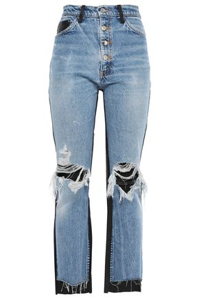 AMIRI Leather-paneled distressed high-rise straight-leg jeans