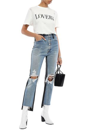 AMIRI Leather-paneled distressed high-rise straight-leg jeans