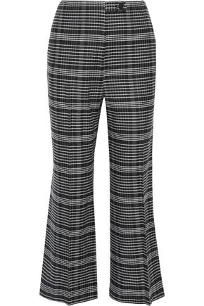 ACNE STUDIOS Cropped checked wool-blend bootcut pants