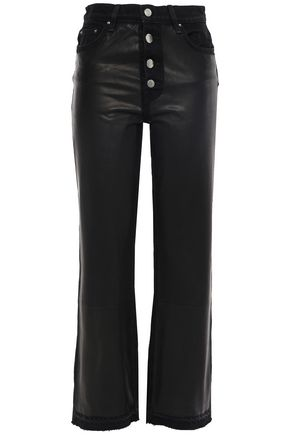 AMIRI Leather-paneled high-rise straight-leg jeans