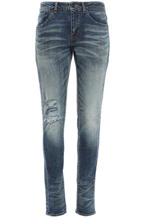 SAINT LAURENT Distressed mid-rise slim-leg jeans