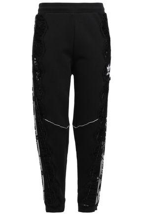 ADIDAS by STELLA McCARTNEY + adidas Originals lace-paneled cotton-jersey track pants