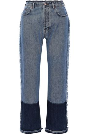 ACNE STUDIOS Myrja frayed two-tone high-rise straight-leg jeans