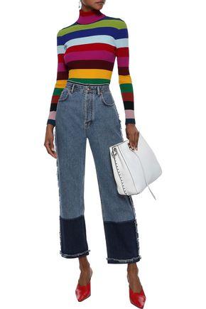 ACNE STUDIOS Myrja frayed two-tone high-rise straight-leg jeans
