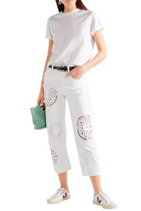 Isabel Marant Jeans ISABEL MARANT WOMAN RONNY BRODERIE ANGLAISE-TRIMMED HIGH-RISE STRAIGHT-LEG JEANS WHITE