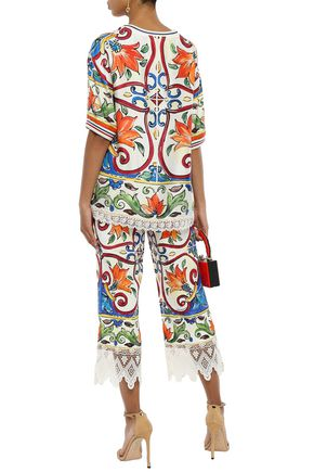 DOLCE & GABBANA Cropped lace-trimmed printed cotton-blend jacquard wide-leg pants
