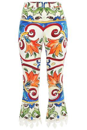 DOLCE & GABBANA Crochet-trimmed printed silk-blend crepe kick-flare pants