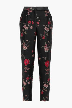 DOLCE & GABBANA Floral-jacquard tapered pants