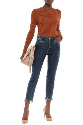 3x1 Cropped distressed high-rise slim-leg jeans