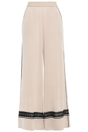 DOLCE & GABBANA Lace-trimmed silk-blend crepe wide-leg pants