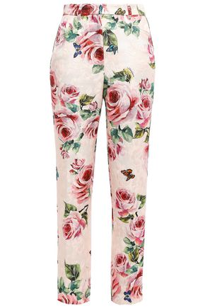 DOLCE & GABBANA Floral-print cotton and silk-blend jacquard tapered pants
