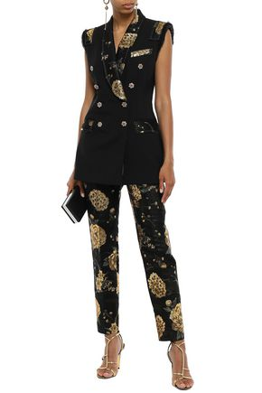 DOLCE & GABBANA Metallic floral-jacquard tapered pants